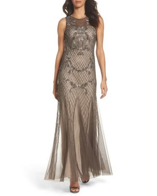 Adrianna Papell | Multicolor Beaded Mesh Gown | Lyst