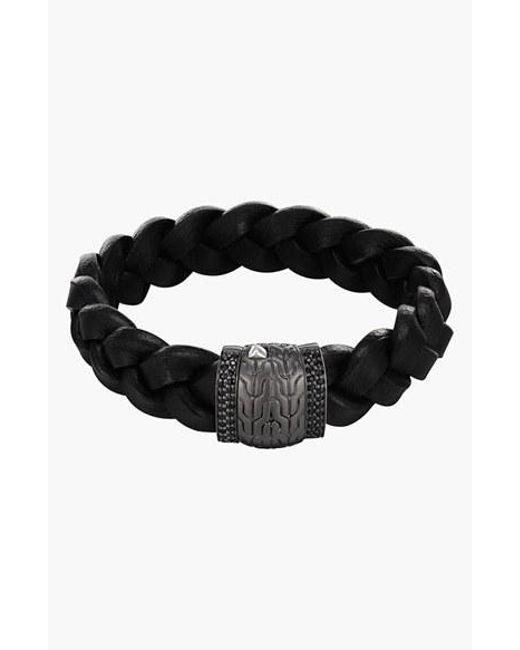 John Hardy   'classic Chain - Lava' Black Sapphire & Leather Bracelet for Men   Lyst