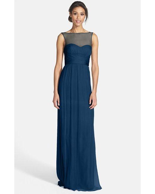 Amsale | Blue Illusion Yoke Crinkled Silk Chiffon Gown | Lyst