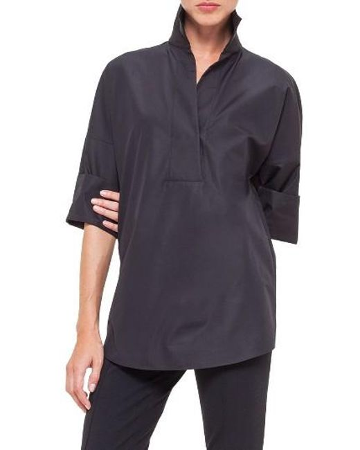 Akris Punto | Black Cotton Poplin Tunic | Lyst