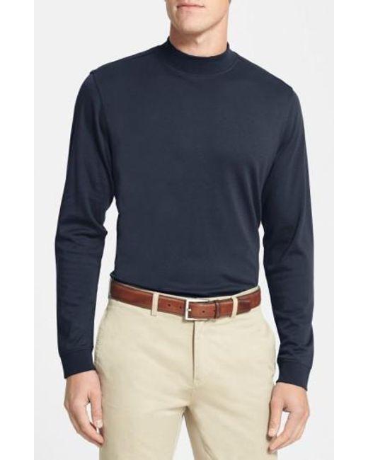 Cutter & Buck | Blue 'belfair' Long Sleeve Mock Neck Pima Cotton T-shirt for Men | Lyst