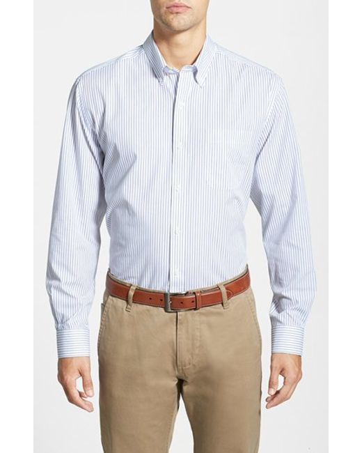 Cutter & Buck | Blue 'epic Easy Care' Classic Fit Vertical Pinstripe Wrinkle Resistant Sport Shirt for Men | Lyst