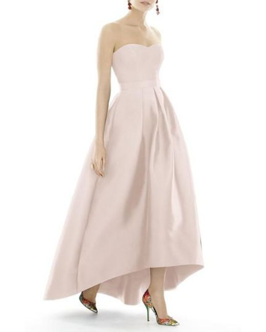 Lyst - Alfred Sung Strapless High/low Sateen Twill Gown in Pink ...