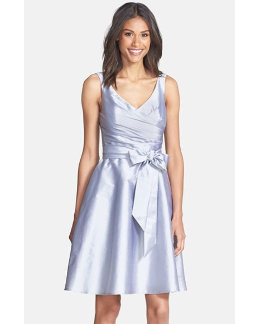 Alfred Sung | Gray Peau De Soie Fit & Flare Dress | Lyst