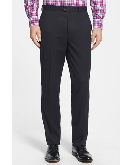 Bensol | Black Gab Trim Fit Flat Front Pants for Men | Lyst