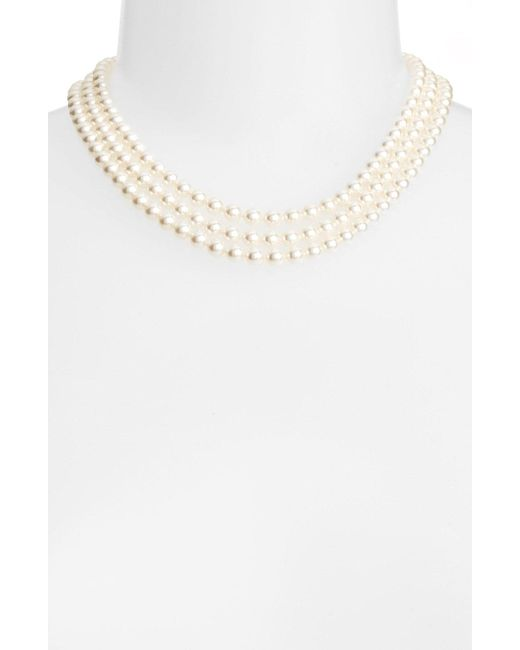 Nadri - Metallic Multistrand Imitation Pearl Necklace - Lyst