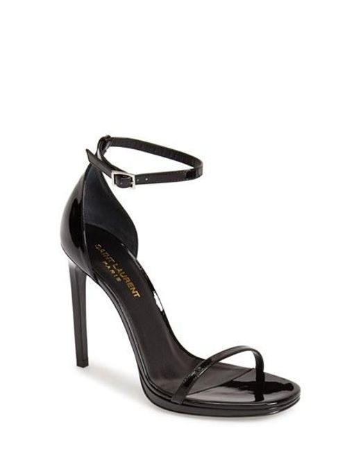 Saint Laurent | Black 'jane' Ankle Strap Leather Sandal | Lyst