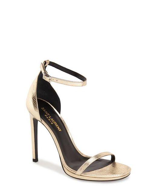 Saint Laurent   Black Jane Patent-Leather Sandals    Lyst