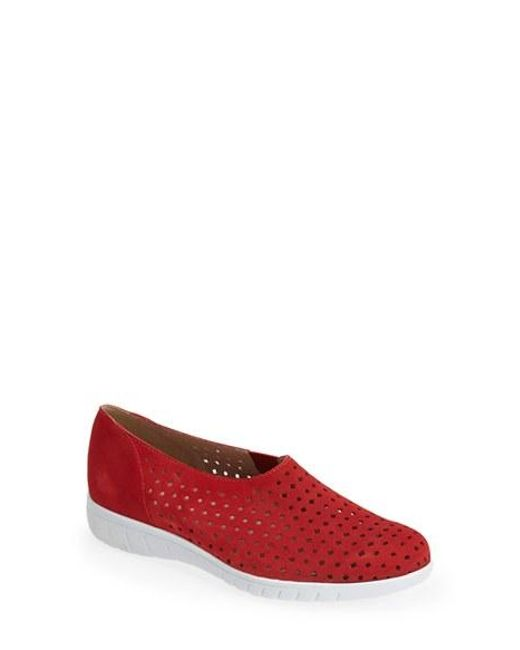 Munro | Red 'skipper' Perforated Leather Sneaker | Lyst