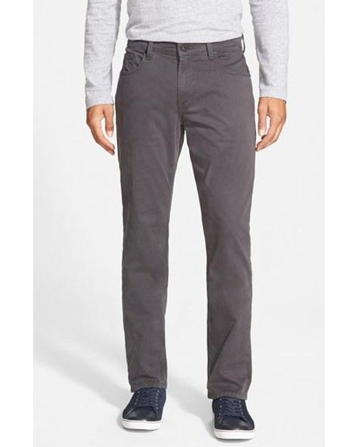 PAIGE | Gray Normandie Slim Straight Leg Twill Pants for Men | Lyst