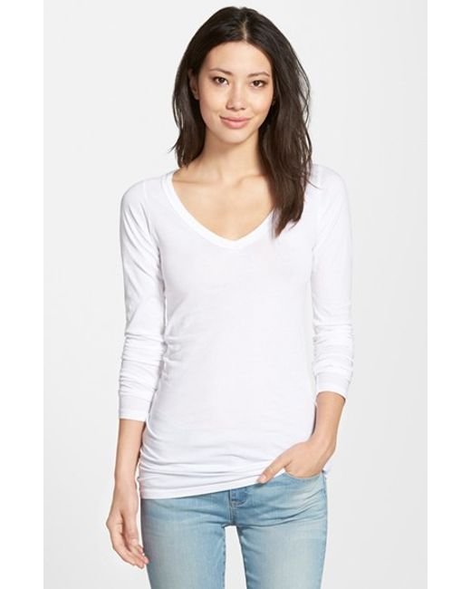 Lamade | White Long V-neck Cotton Tee | Lyst