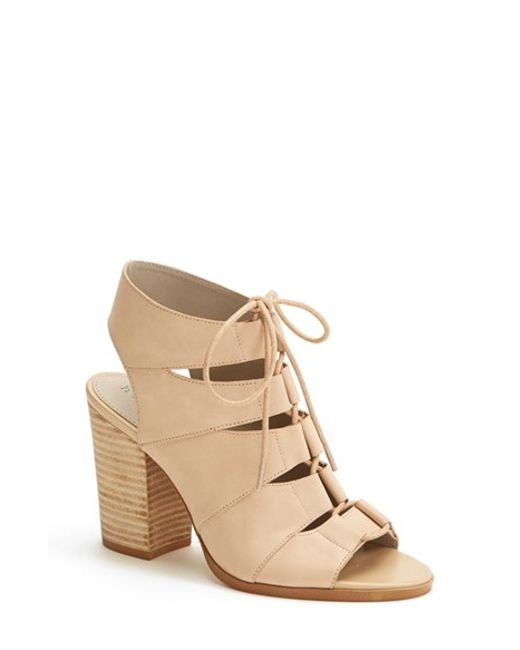 Hinge | Pink 'drea' Peep Toe Leather Sandal | Lyst