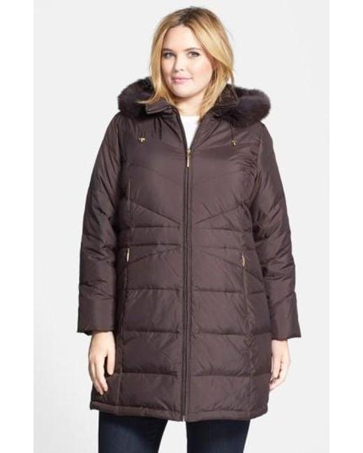 Ellen Tracy | Black Genuine Fox Fur Trim Hooded Down Walking Coat | Lyst