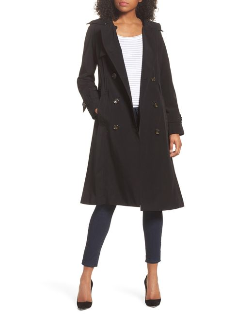 London Fog - Black Long Double Breasted Trench Coat - Lyst
