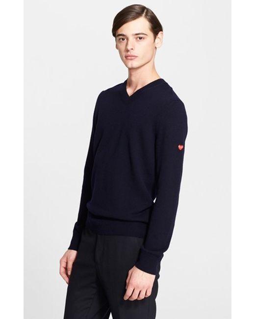 Comme des Garçons | Blue Play V-neck Sweater for Men | Lyst