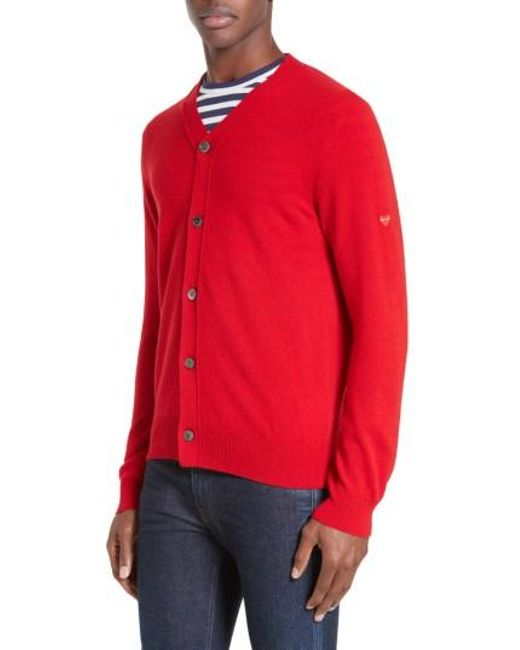 Comme des Garçons | Red Play Wool Cardigan for Men | Lyst