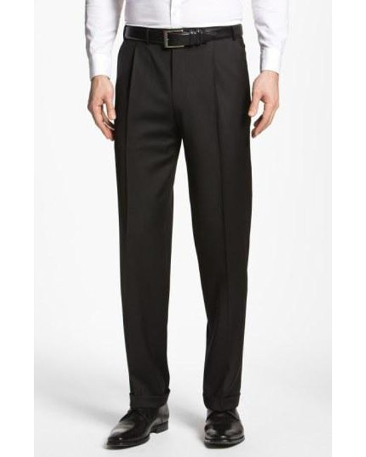 Canali - Black Pleated Trousers for Men - Lyst