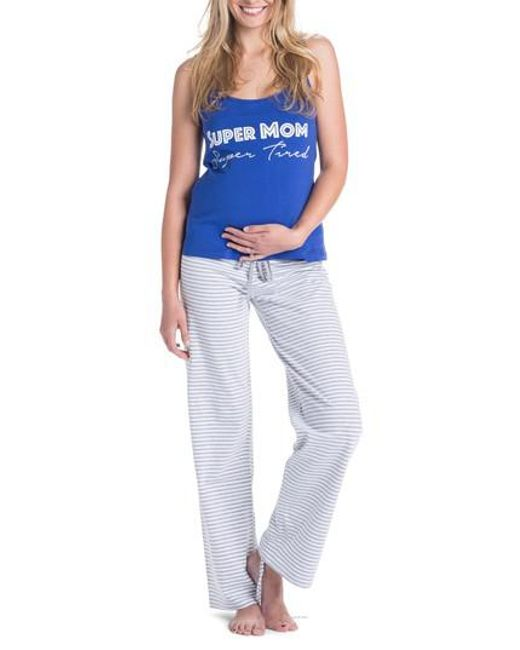 Lyst - You Lingerie Trudy Super Mom Maternity/nursing Pajamas in Blue