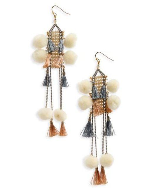 Nakamol   Gray Pom & Tassel Crystal Ladder Earrings   Lyst