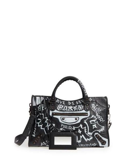 Balenciaga - Black City Graffiti Leather Tote - Lyst