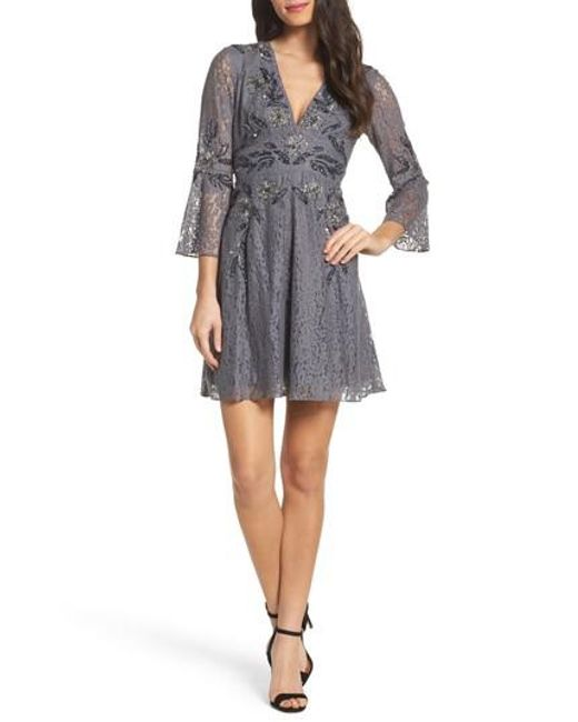 French Connection | Gray Esme Shimmer Beaded Lace Dress | Lyst