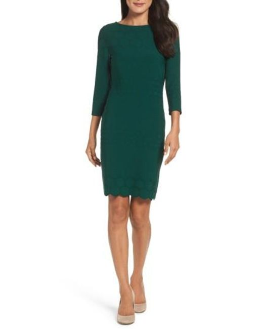 Julia Jordan | Green Eyelet Sheath Dress | Lyst