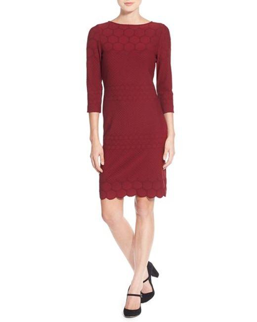 Julia Jordan | Red Eyelet Sheath Dress | Lyst
