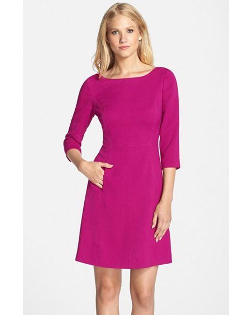 Vince Camuto | Purple Crepe A-Line Dress | Lyst