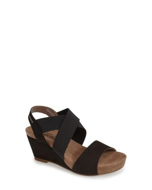 Mephisto | Black 'barbara' Wedge Sandal | Lyst