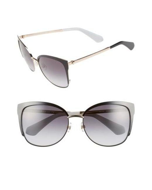 Kate Spade | Black 'genice' 57mm Cat-eye Sunglasses | Lyst
