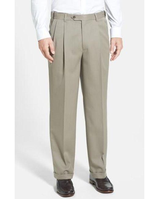 Berle - Gray Self Sizer Waist Pleated Wool Gabardine Trousers for Men - Lyst