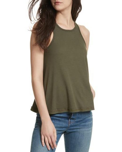 Free People | Green 'long Beach' Tank | Lyst