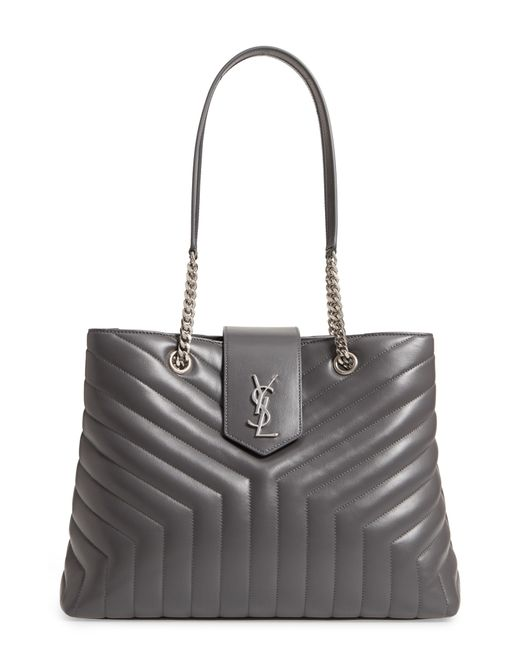 Saint Laurent - Natural Large Loulou Matelasse Leather Shopper - Lyst