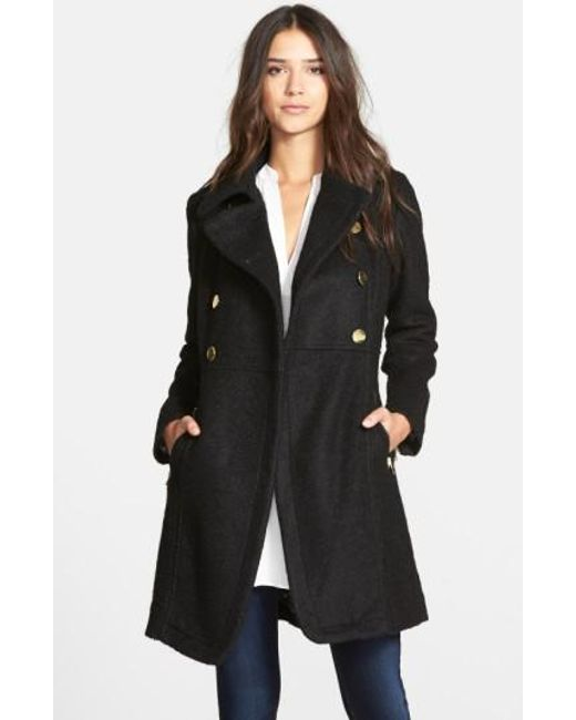 Guess | Black Double Breasted Boucle Cutaway Coat | Lyst