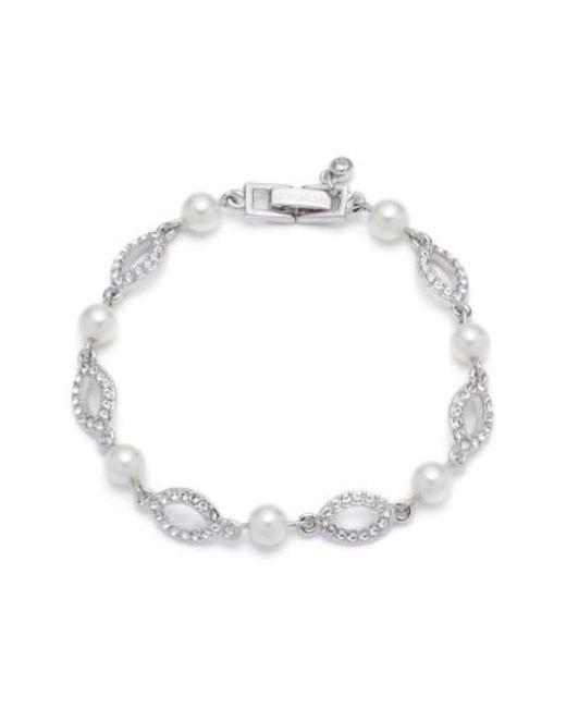 Givenchy | Metallic Imitation Pearl & Crystal Line Bracelet | Lyst