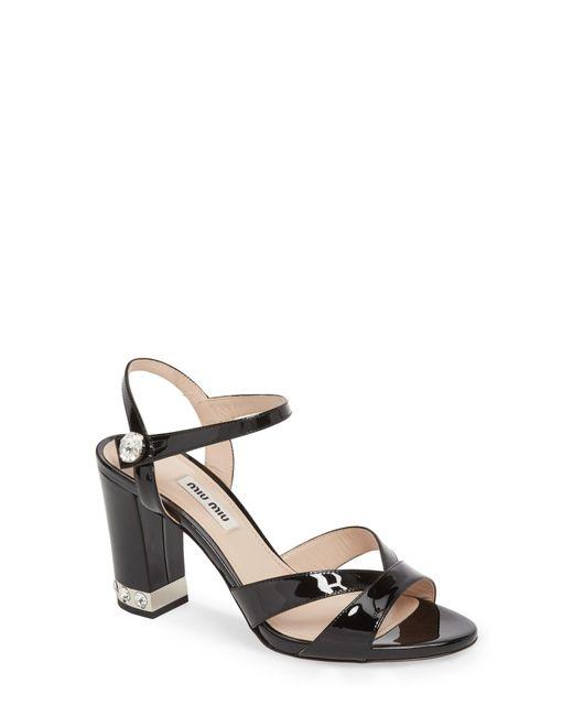 Miu Miu - Black Jeweled Heel Sandal - Lyst