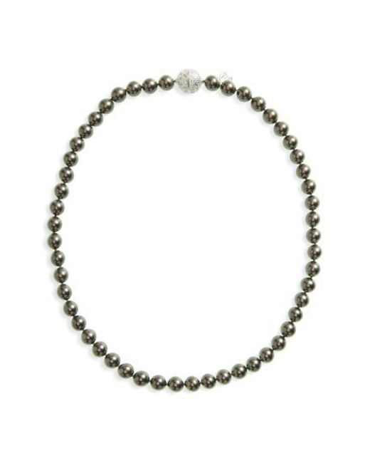 Majorica | Gray 8mm Round Simulated Pearl Strand Necklace | Lyst