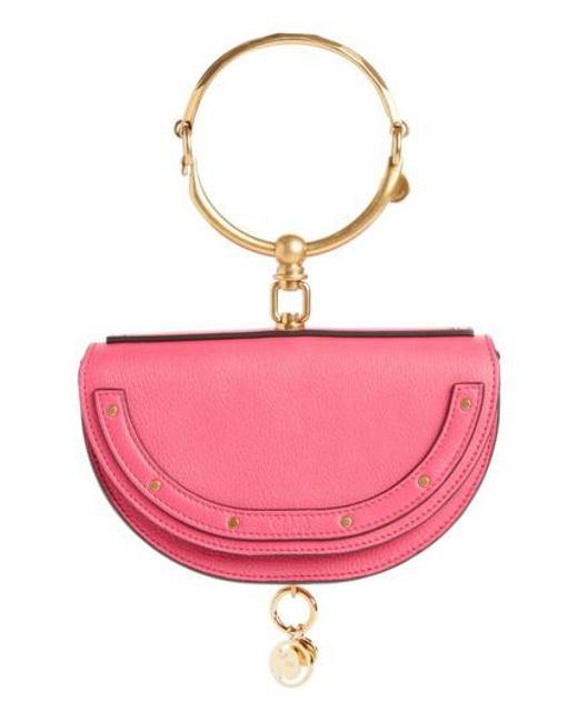 Chloé - Pink Small Nile Bracelet Calfskin Leather Minaudiere - Lyst