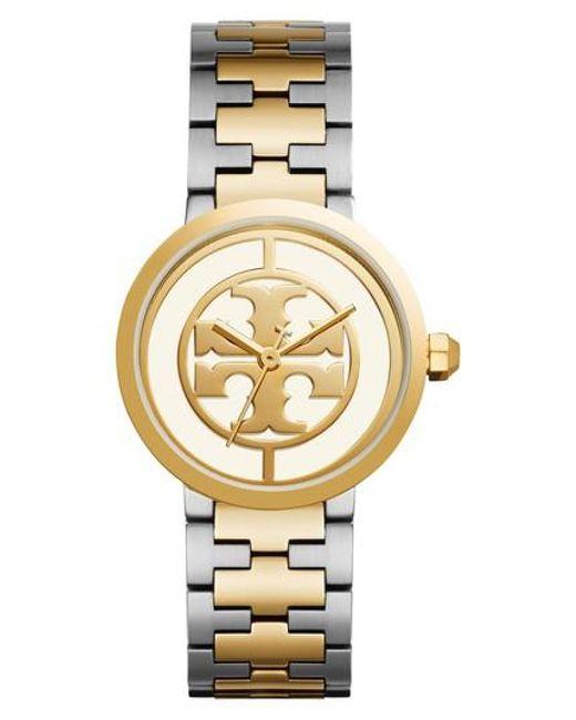 Tory Burch | Metallic Reva Logo Dial Bracelet Watch | Lyst