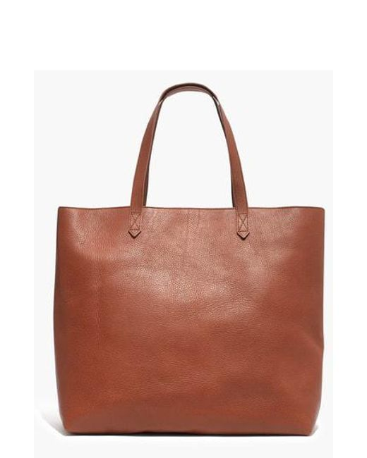 Madewell - Brown Zip Top Transport Leather Tote - Burgundy - Lyst