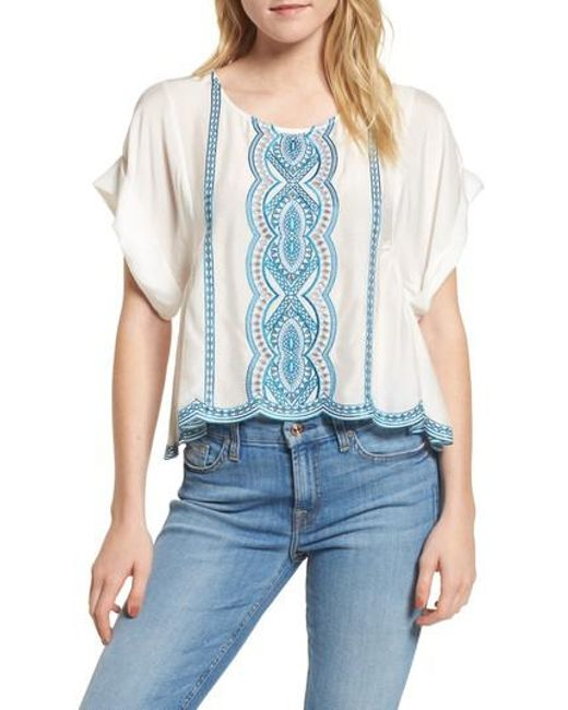 Ella Moss | Natural Embroidered Top | Lyst