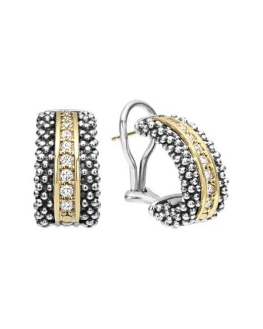 Lagos - Metallic 'caviar' Diamond Hoop Earrings - Lyst