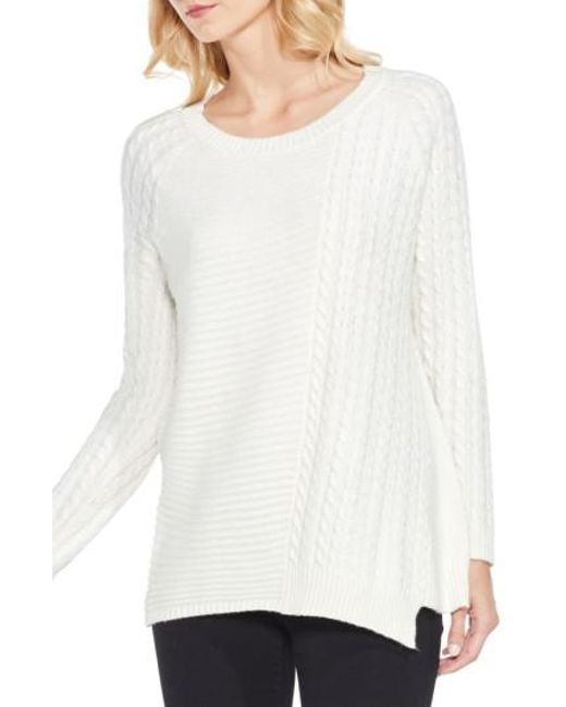 Two By Vince Camuto | White Mixed Stitch Sweater | Lyst