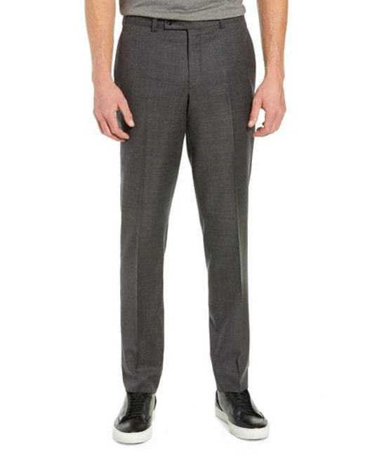 d2b7bd8301006a Ted Baker - Gray Jefferson Flat Front Plaid Wool Trousers for Men - Lyst