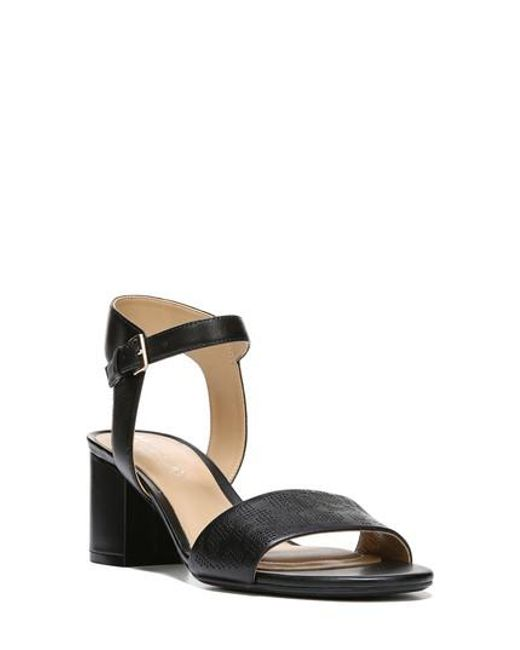 Naturalizer | Black Caitlyn Perforated Ankle Strap Sandal | Lyst