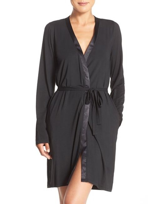 Calvin Klein | Black 'essentials' Short Robe | Lyst