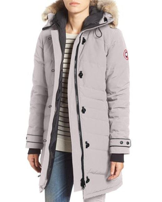 Canada Goose - Gray 'lorette' Hooded Down Parka With Genuine Coyote Fur Trim -