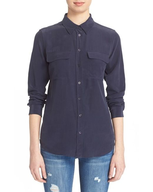 Equipment | Blue 'slim Signature' Silk Shirt | Lyst
