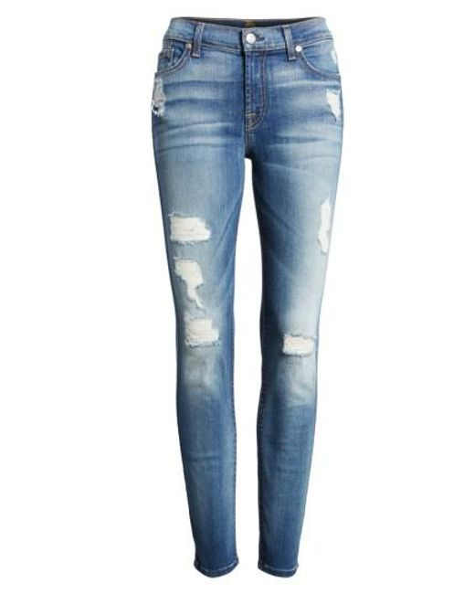 7 For All Mankind   Blue 7 For All Mankind Ripped Ankle Skinny Jeans   Lyst