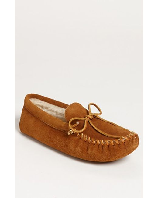 Minnetonka   Brown Suede Moccasin With Faux Fur Lining for Men   Lyst